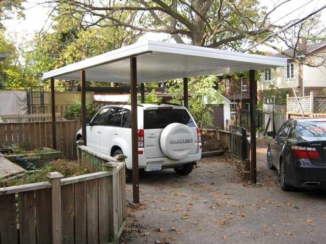 "shallow 'V' 10"" panel carport, free standing configuration."
