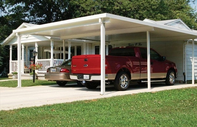"shallow 'V' 10"" panel carport, two car side by side configuration."