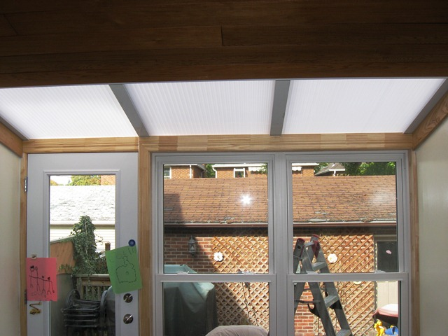room extension with polycarbonate roof.