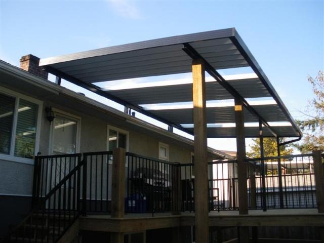 Captivating Combination Solid / Clear Patio Cover Using Clear Glass Panels. Note That  Existing Houseu0027