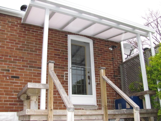 opaque polycarbonate back entrance cover, insulated panels and structure shown.