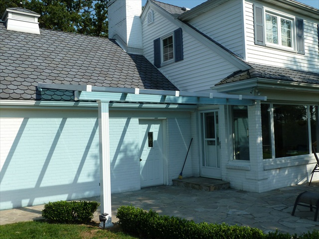 blue tint glass roof without gutter.