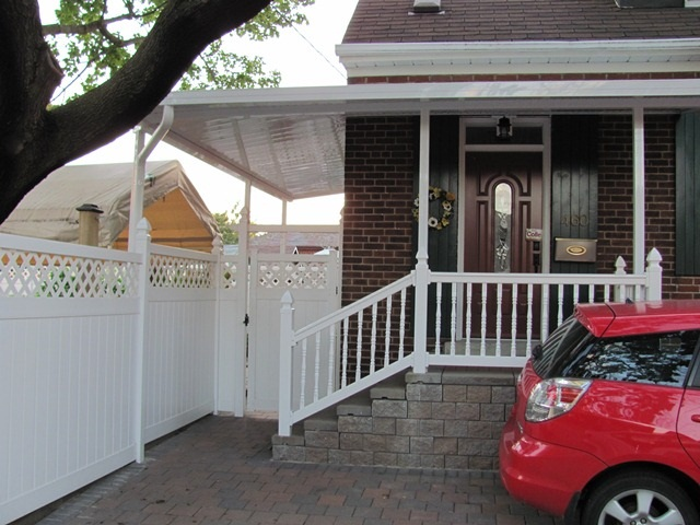 wrap around patio cover over front stairs and side entrance.