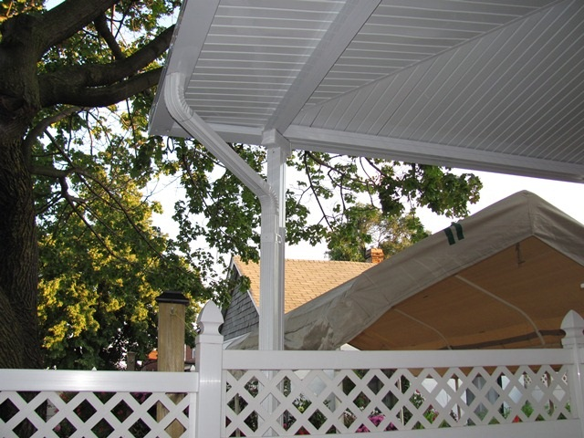 wrap around patio cover over front stairs and side entrance, corner detail