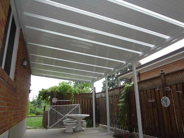 large patio cover with skylits.