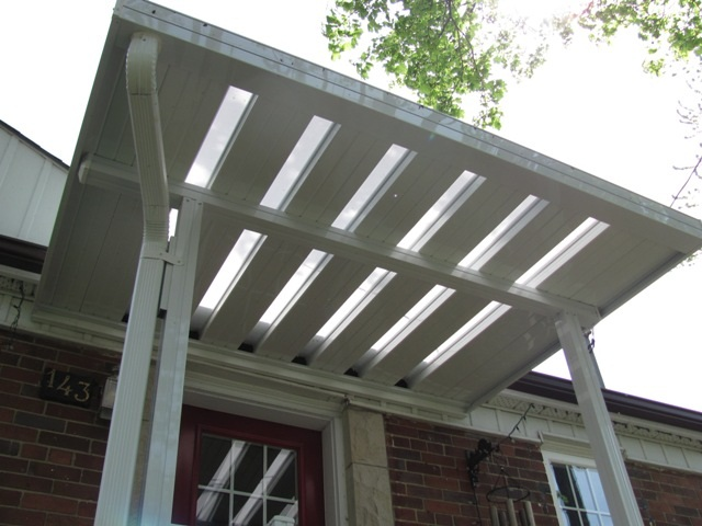 front door canopy with skylites.