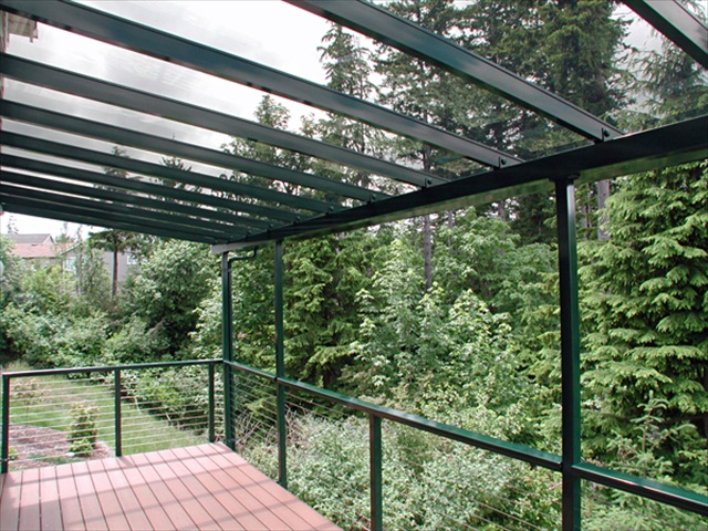 clear glass roof over deck