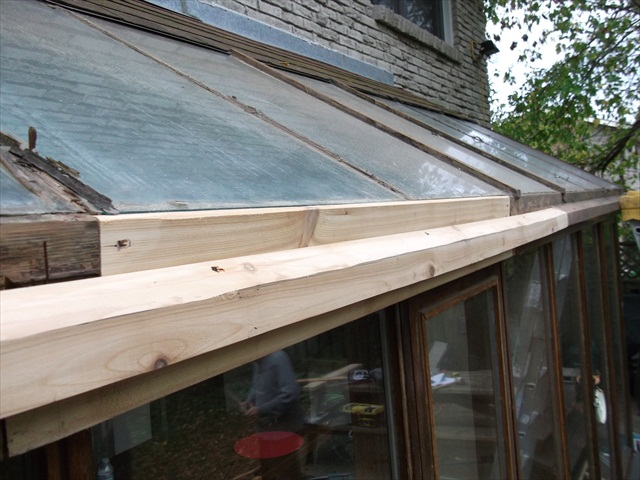 Rotted wood on glass roof repair