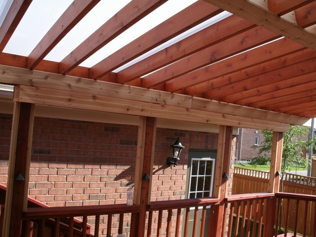 Polycarbonate cover existing pergola.